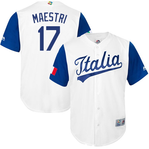 Men's Italy Baseball Majestic #17 Alex Maestri White 2017 World Baseball Classic Replica Team Jersey