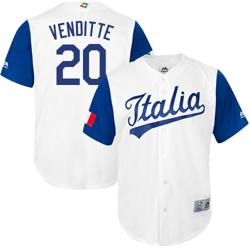 Men's Italy Baseball Majestic #20 Pat Venditte White 2017 World Baseball Classic Replica Team Jersey