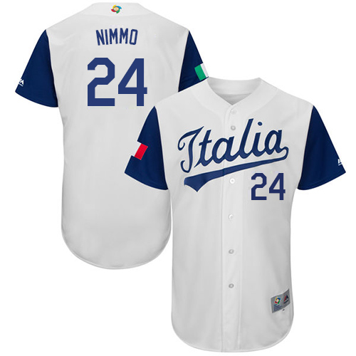 Men's Italy Baseball Majestic #24 Brandon Nimmo White 2017 World Baseball Classic Authentic Team Jersey