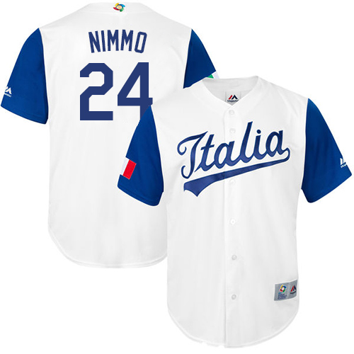 Men's Italy Baseball Majestic #24 Brandon Nimmo White 2017 World Baseball Classic Replica Team Jersey