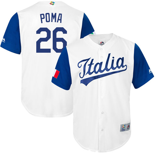 Men's Italy Baseball Majestic #26 Sebastian Poma White 2017 World Baseball Classic Replica Team Jersey