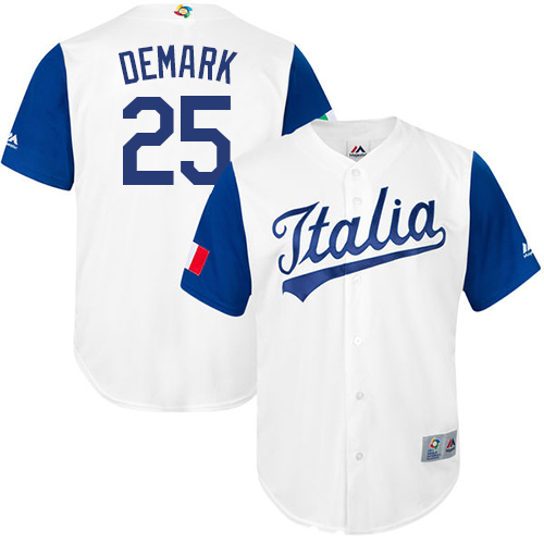 Men's Italy Baseball Majestic #25 Mike DeMark White 2017 World Baseball Classic Replica Team Jersey