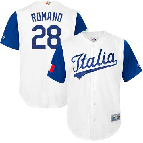 Men's Italy Baseball Majestic #28 Jordan Romano White 2017 World Baseball Classic Replica Team Jersey