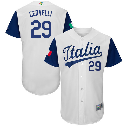 Men's Italy Baseball Majestic #29 Francisco Cervelli White 2017 World Baseball Classic Authentic Team Jersey
