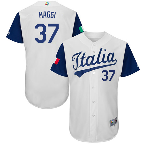 Men's Italy Baseball Majestic #37 Drew Maggi White 2017 World Baseball Classic Authentic Team Jersey