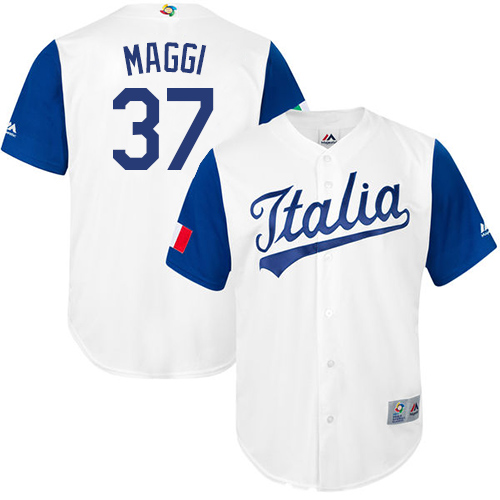 Men's Italy Baseball Majestic #37 Drew Maggi White 2017 World Baseball Classic Replica Team Jersey