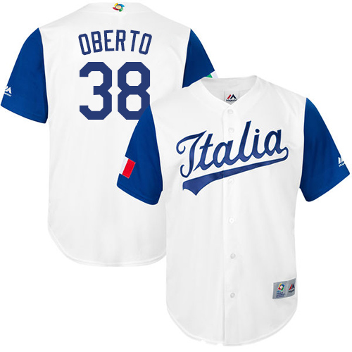 Men's Italy Baseball Majestic #38 Orlando Oberto White 2017 World Baseball Classic Replica Team Jersey