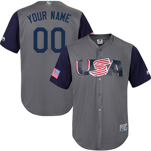 Men's USA Baseball Majestic Customized Gray 2017 World Baseball Classic Replica Team Jersey