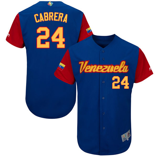 Men's Venezuela Baseball Majestic #24 Miguel Cabrera Royal Blue 2017 World Baseball Classic Authentic Team Jersey