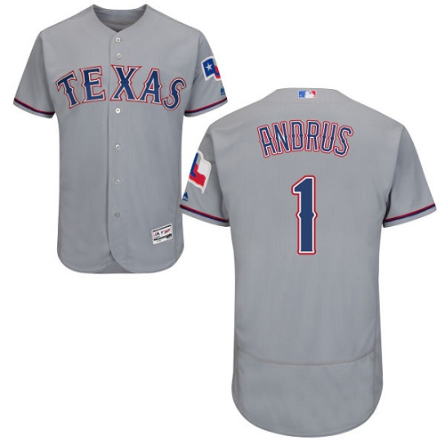 Men's Majestic Texas Rangers #1 Elvis Andrus Authentic Grey Road Cool Base MLB Jersey