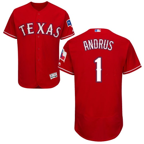 Men's Majestic Texas Rangers #1 Elvis Andrus Authentic Red Alternate Cool Base MLB Jersey