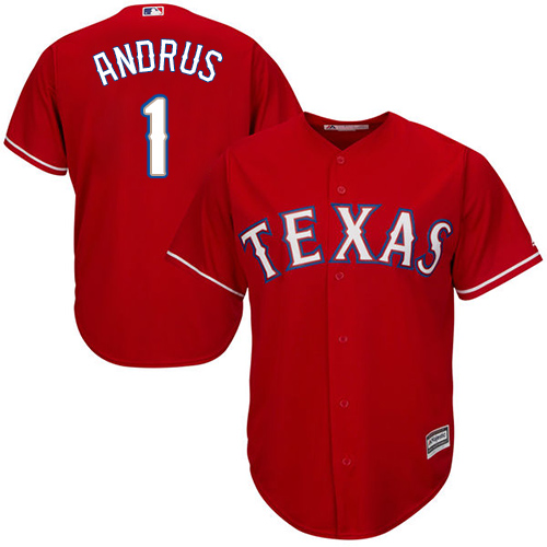 Men's Majestic Texas Rangers #1 Elvis Andrus Replica Red Alternate Cool Base MLB Jersey