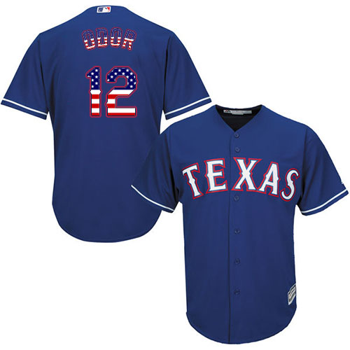 Men's Majestic Texas Rangers #12 Rougned Odor Authentic Royal Blue USA Flag Fashion MLB Jersey