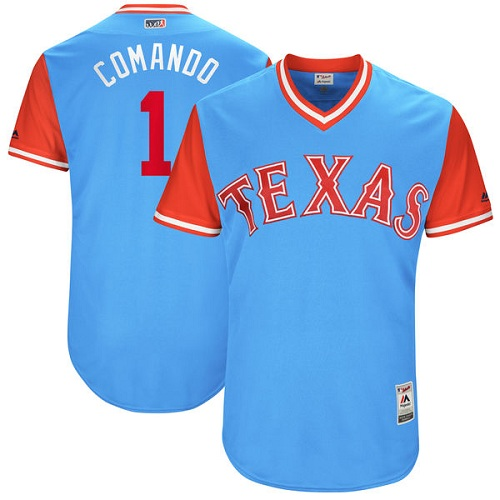 "Men's Majestic Texas Rangers #1 Elvis Andrus ""Comando"" Authentic Light Blue 2017 Players Weekend MLB Jersey"