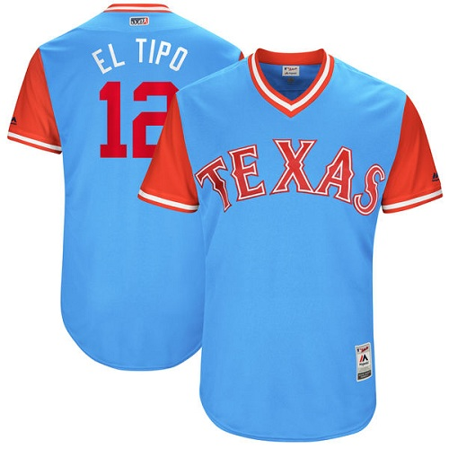 "Men's Majestic Texas Rangers #12 Rougned Odor ""El Tipo"" Authentic Light Blue 2017 Players Weekend MLB Jersey"