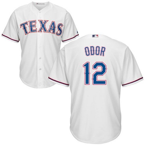 Men's Majestic Texas Rangers #12 Rougned Odor Replica White Home Cool Base MLB Jersey