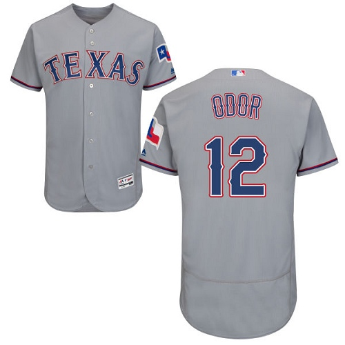 Men's Majestic Texas Rangers #12 Rougned Odor Authentic Grey Road Cool Base MLB Jersey