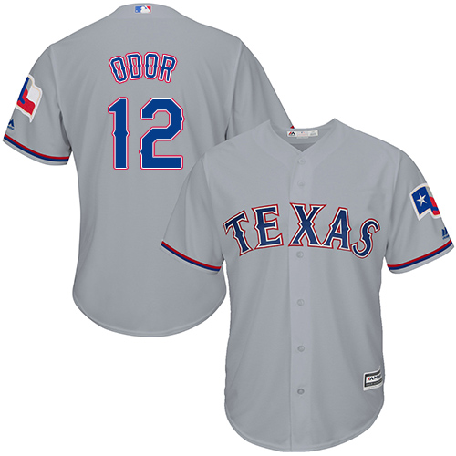 Men's Majestic Texas Rangers #12 Rougned Odor Replica Grey Road Cool Base MLB Jersey
