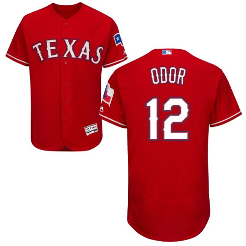 Men's Majestic Texas Rangers #12 Rougned Odor Authentic Red Alternate Cool Base MLB Jersey