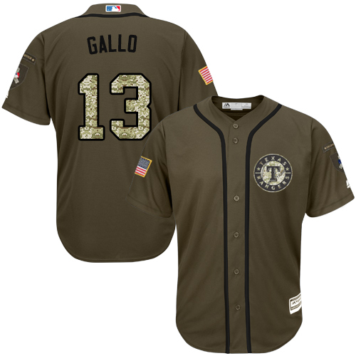 Men's Majestic Texas Rangers #13 Joey Gallo Authentic Green Salute to Service MLB Jersey