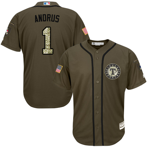 Men's Majestic Texas Rangers #1 Elvis Andrus Replica Green Salute to Service MLB Jersey