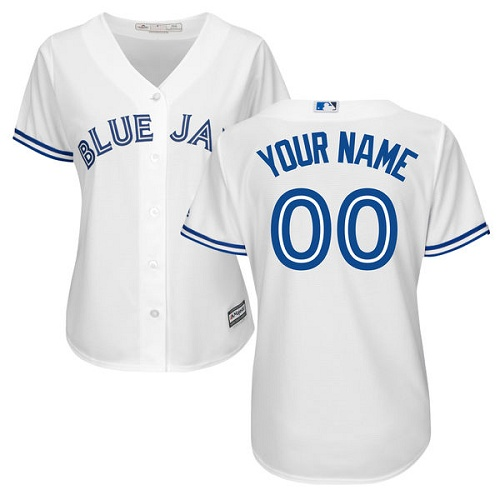 Women's Majestic Toronto Blue Jays Customized Replica White Home MLB Jersey