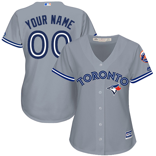 Women's Majestic Toronto Blue Jays Customized Authentic Grey Road MLB Jersey