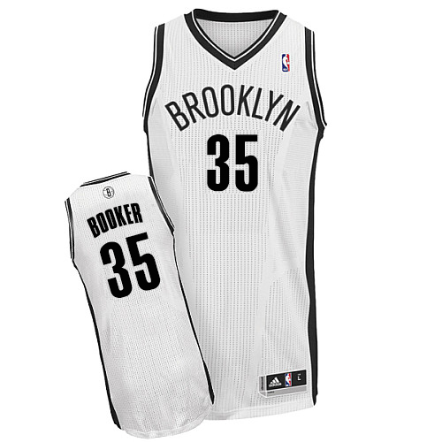 Men's Adidas Brooklyn Nets #35 Trevor Booker Authentic White Home NBA Jersey