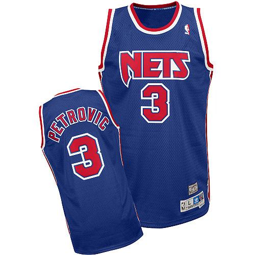 Men's Adidas Brooklyn Nets #3 Drazen Petrovic Authentic Blue Throwback NBA Jersey