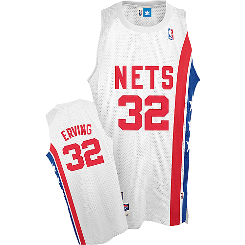 Men's Adidas Brooklyn Nets #32 Julius Erving Authentic White ABA Retro Throwback NBA Jersey