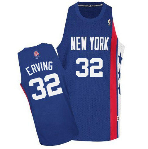 Men's Adidas Brooklyn Nets #32 Julius Erving Authentic Blue ABA Retro Throwback NBA Jersey
