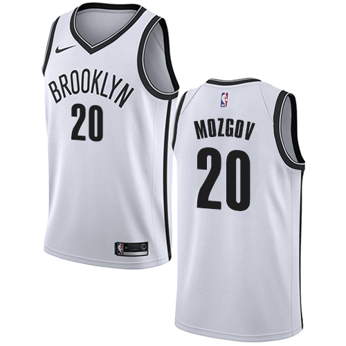 Men's Adidas Brooklyn Nets #20 Timofey Mozgov Authentic White Home NBA Jersey