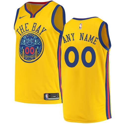 Men's Nike Golden State Warriors Customized Authentic Gold NBA Jersey - City Edition