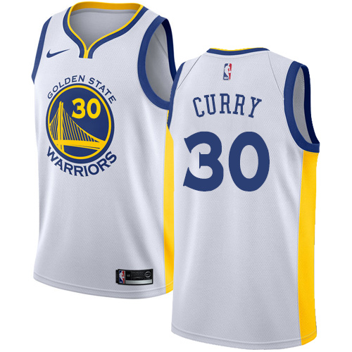 Men's Nike Golden State Warriors #30 Stephen Curry Swingman White Home NBA Jersey - Association Edition
