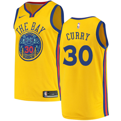Men's Nike Golden State Warriors #30 Stephen Curry Authentic Gold NBA Jersey - City Edition