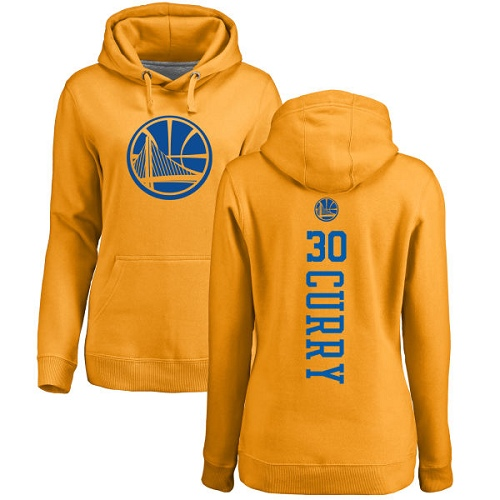 NBA Women's Nike Golden State Warriors #30 Stephen Curry Gold One Color Backer Pullover Hoodie