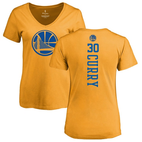 NBA Women's Nike Golden State Warriors #30 Stephen Curry Gold One Color Backer Slim-Fit V-Neck T-Shirt