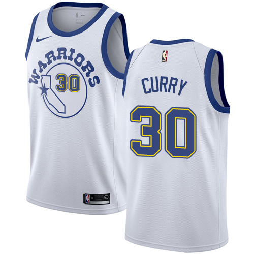 Men's Nike Golden State Warriors #30 Stephen Curry Authentic White Hardwood Classics NBA Jersey