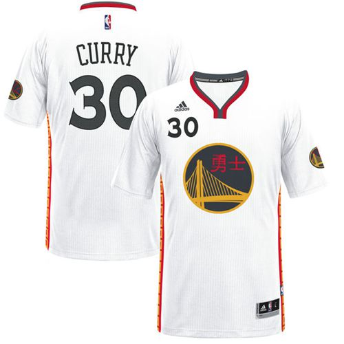 Men's Adidas Golden State Warriors #30 Stephen Curry Authentic White 2017 Chinese New Year NBA Jersey