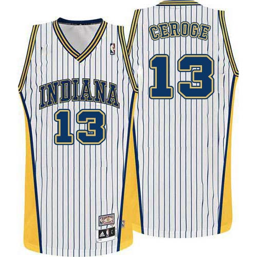 Men's Adidas Indiana Pacers #13 Paul George Authentic White Throwback NBA Jersey