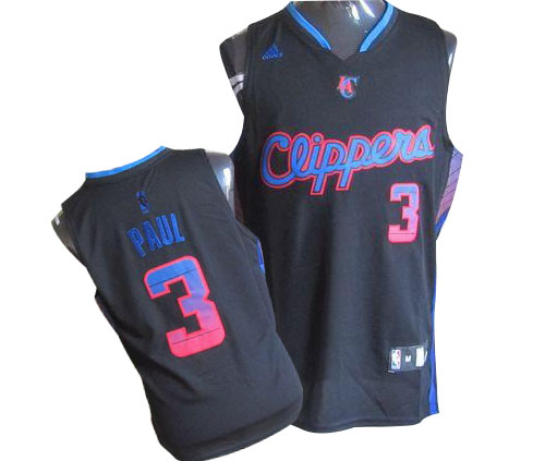 Men's Adidas Los Angeles Clippers #3 Chris Paul Authentic Black Vibe NBA Jersey