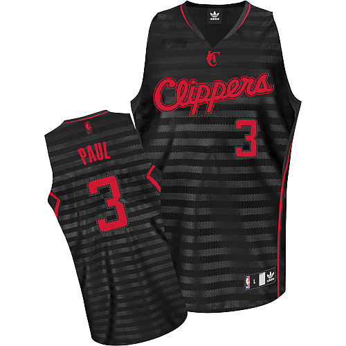 Men's Adidas Los Angeles Clippers #3 Chris Paul Authentic Black/Grey Groove NBA Jersey