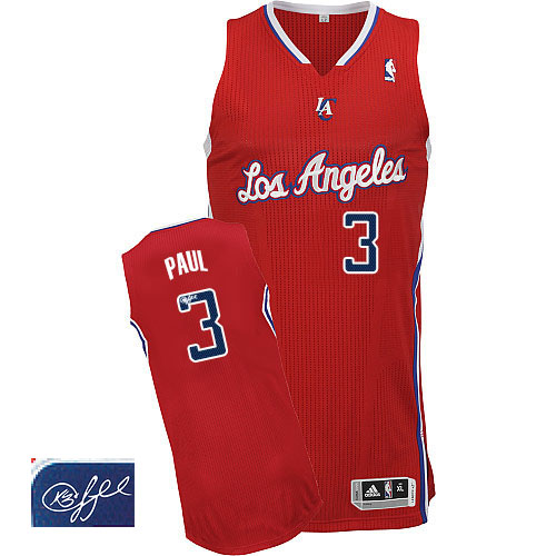 Men's Adidas Los Angeles Clippers #3 Chris Paul Authentic Red Road Autographed NBA Jersey