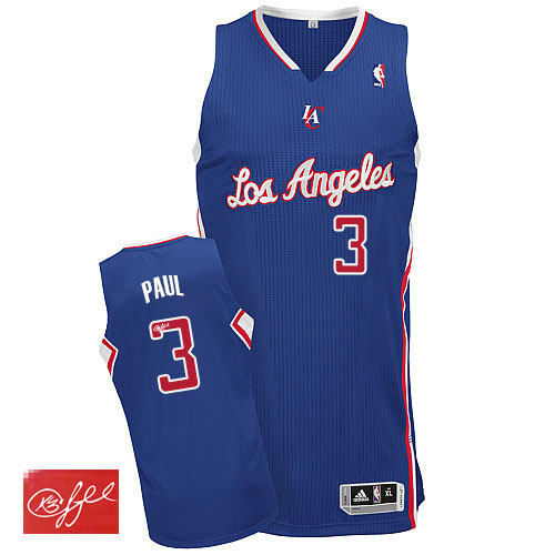 Men's Adidas Los Angeles Clippers #3 Chris Paul Authentic Royal Blue Alternate Autographed NBA Jersey
