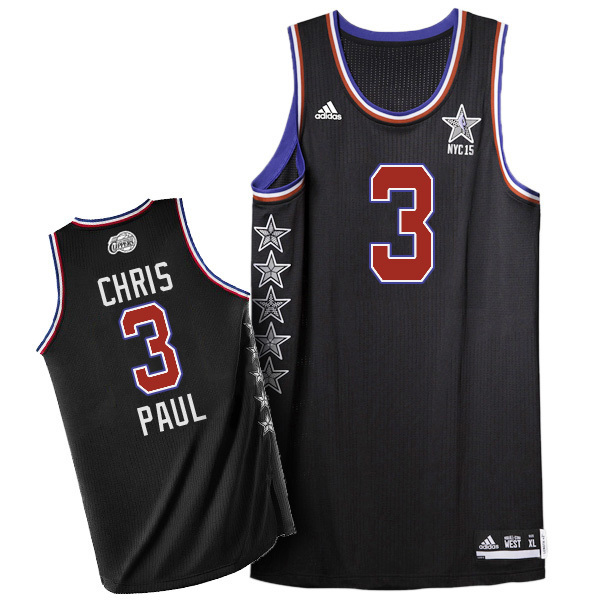 Men's Adidas Los Angeles Clippers #3 Chris Paul Authentic Black 2015 All Star NBA Jersey
