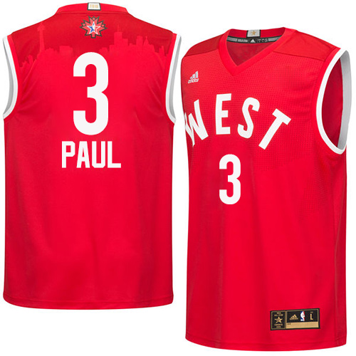 Men's Adidas Los Angeles Clippers #3 Chris Paul Authentic Red 2016 All Star NBA Jersey