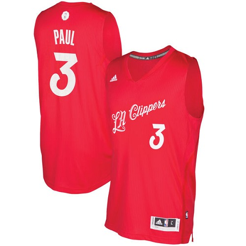 Men's Adidas Los Angeles Clippers #3 Chris Paul Authentic Red 2016-2017 Christmas Day NBA Jersey