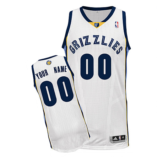 Men's Adidas Memphis Grizzlies Customized Authentic White Home NBA Jersey