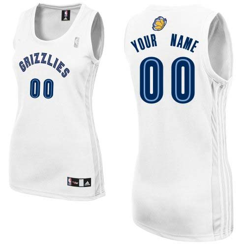 Women's Adidas Memphis Grizzlies Customized Authentic White Home NBA Jersey