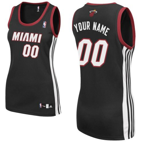 Women's Adidas Miami Heat Customized Authentic Black Road NBA Jersey